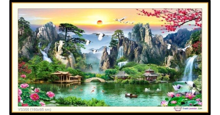 Tranh đính đá Thiên Nhiên Giao Hòa (khổ lớn) ✅160x85 cm -️ VS356