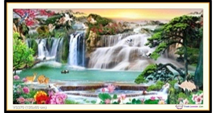 Tranh đính đá Lưu Thủy Sinh Tài (khổ lớn) ✅120x60 cm -️ VS370