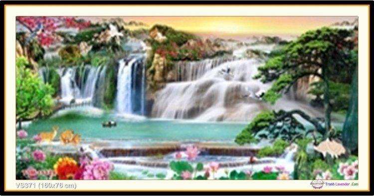 Tranh đính đá Lưu Thủy Sinh Tài (khổ lớn) ✅160x76 cm -️ VS371