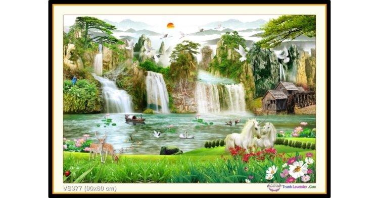 Tranh đính đá Non Nước Hữu Tình (khổ nhỏ) ✅90x60 cm -️ VS377