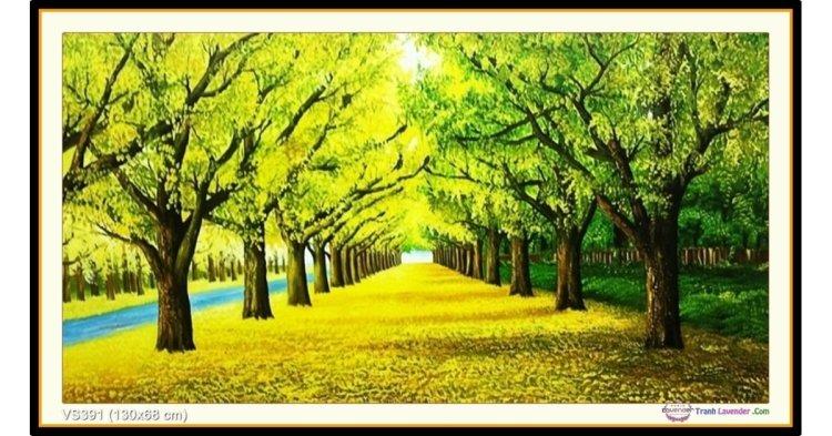 Tranh đính đá Thu sang (con đường mùa thu) (khổ lớn) ✅130x68 cm -️ VS391