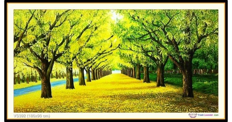 Tranh đính đá Thu sang (con đường mùa thu) (khổ rất lớn) ✅180x90 cm -️ VS392