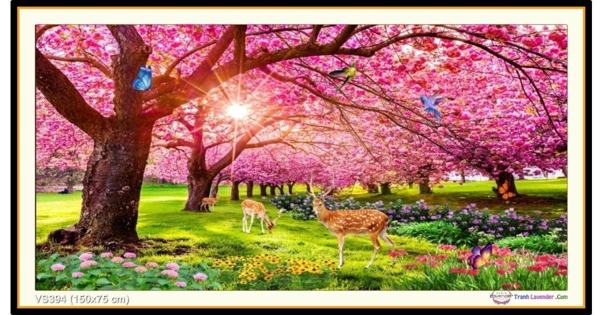 Tranh đính đá Vườn tình yêu (khổ lớn) ✅150x75 cm -️ VS394