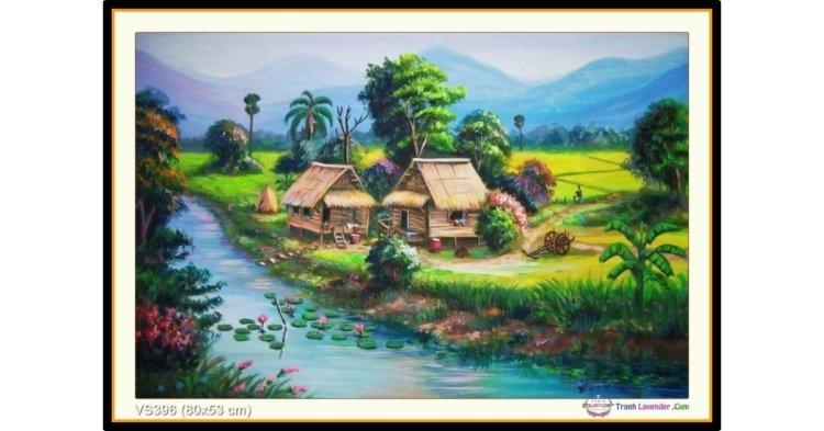 Tranh đính đá Ngôi nhà bên sông (khổ nhỏ) ✅80x53 cm -️ VS396