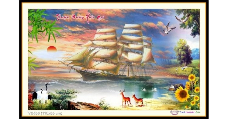 Tranh đính đá Thuận Buồm Xuôi Gió (khổ trung bình) ✅110x65 cm -️ VS456