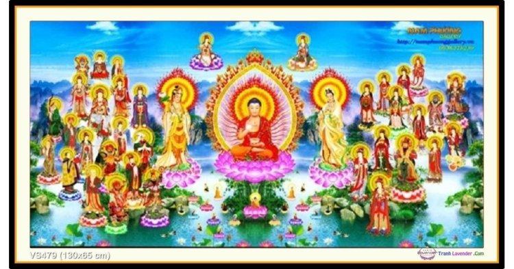 Tranh đính đá Tây Phương Cực Lạc Thánh Chúng A Di Đà Phật (khổ lớn) ✅130x65 cm -️ VS479