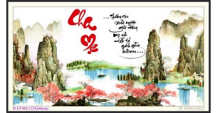 Tranh đính đá phong cảnh sông núi - Thư pháp Cha Mẹ - D-LV462 ❤️