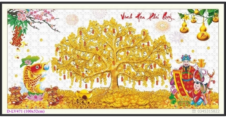 Tranh đính đá Vinh Hoa Phú Quý - Cây tiền vàng - D-LV471 ❤️