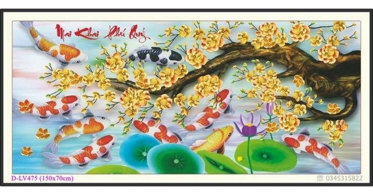 Tranh đính đá Mai Khai Phú Quý - Cửu ngư quần hội - D-LV475 ❤️