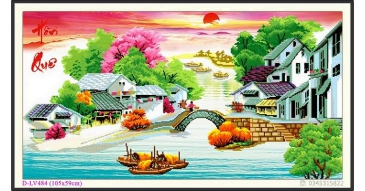 Tranh đính đá phong cảnh Cầu nối 2 thôn - thư pháp Hồn Quê - D-LV484 ❤️
