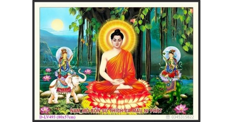Tranh đính đá Đức Phật ngồi gốc Bồ Đề - D-LV493 ❤️