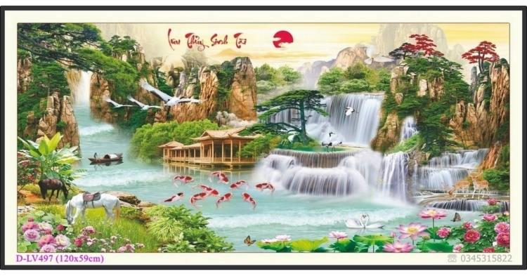 Tranh đính đá phong cảnh Lưu Thủy Sinh Tài - D-LV497 ❤️