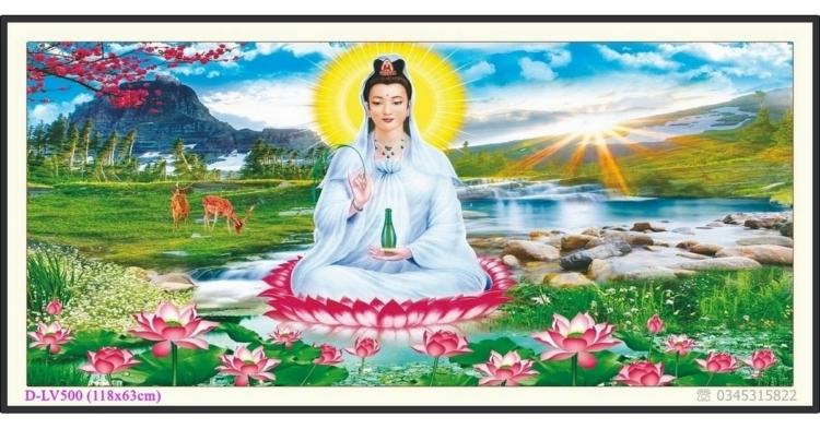 Tranh đính đá Phật bà Quan Âm tọa đài sen - D-LV500 ❤️