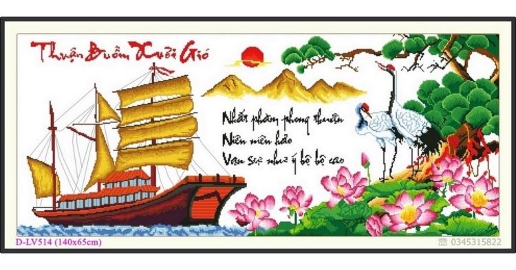 Tranh đính đá Thuận Buồm Xuôi Gió - D-LV514 ❤️