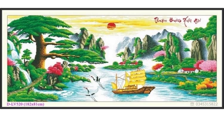 Tranh đính đá Thuận Buồm Xuôi Gió - Tùng nghênh khách - D-LV520 ❤️
