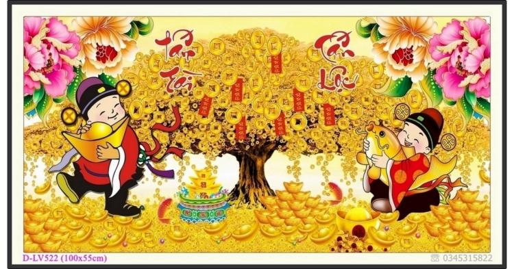 Tranh đính đá cây tiền vàng - Thần Tài gõ cửa - D-LV522 ❤️