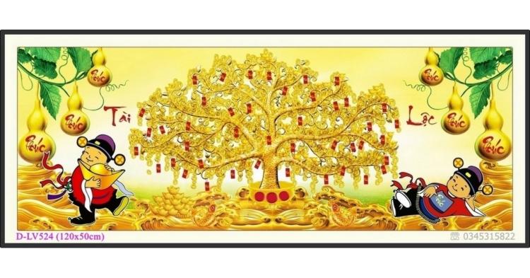 Tranh đính đá cây tiền vàng - Thần Tài gõ cửa - D-LV524 ❤️