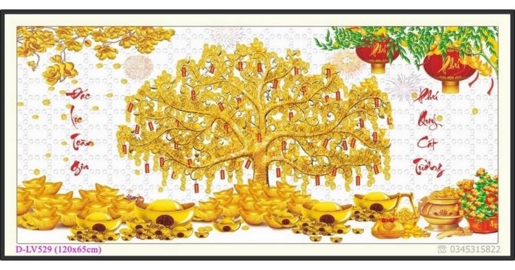 Tranh đính đá Cây tiền vàng - Phát tài phát lộc - D-LV529 ❤️