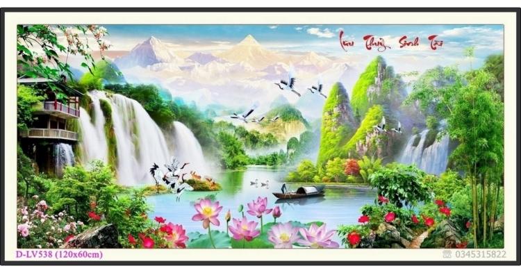 Tranh đính đá phong cảnh Lưu Thủy Sinh Tài - D-LV538 ❤️