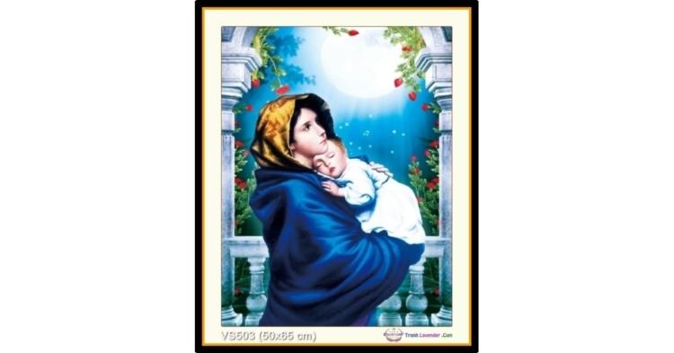 Tranh đính đá Đức mẹ Maria bồng con (khổ nhỏ) ✅50x65 cm -️ VS503
