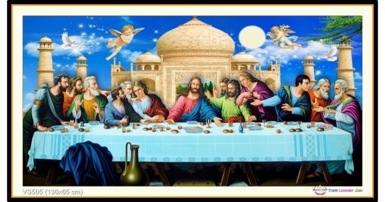 Tranh đính đá Bữa tiệc ly- Bữa ăn tối cuối cùng của Chúa (khổ lớn) ✅130x65 cm -️ VS505