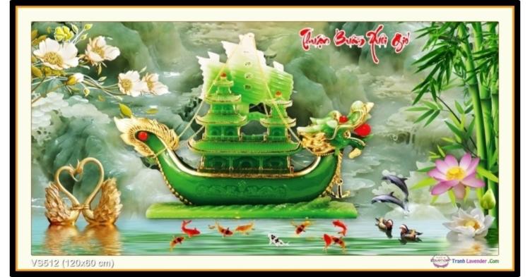 Tranh đính đá Thuận Buồm Xuôi Gió - Thuyền Ngọc (khổ lớn) ✅120x60 cm -️ VS512