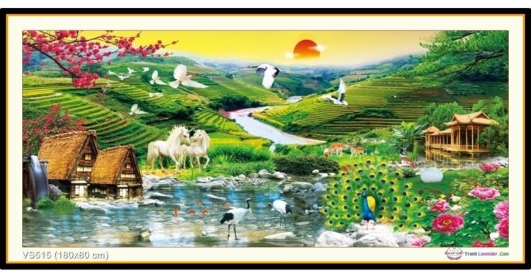 Tranh đính đá phong cảnh Cõi thần tiên (khổ lớn) ✅180x80 cm -️ VS515