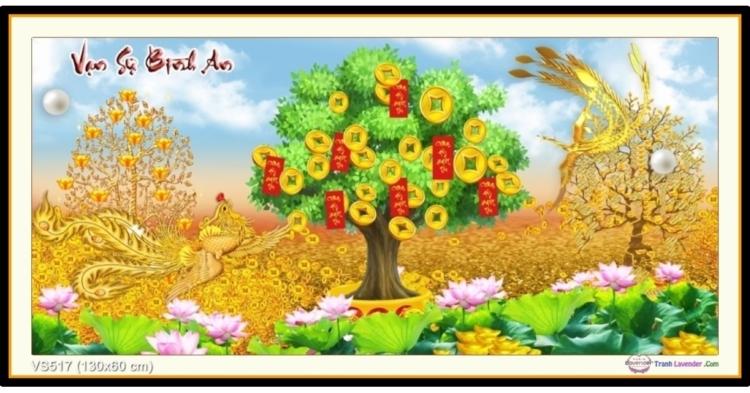 Tranh đính đá cây tiền vàng - Thư pháp Vạn sự như ý (khổ lớn) ✅130x60 cm -️ VS517