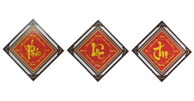 [T-LV3284] Tranh thêu chữ thập Thư pháp Phúc Lộc Thọ khổ nhỏ (106x37 cm)