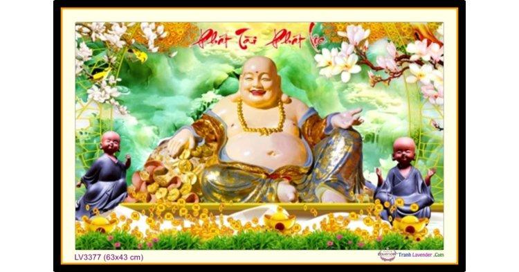 [T-LV3377] Tranh thêu chữ thập Phật Di Lặc - Phát Tài Phát Lộc khổ nhỏ (63x43 cm)