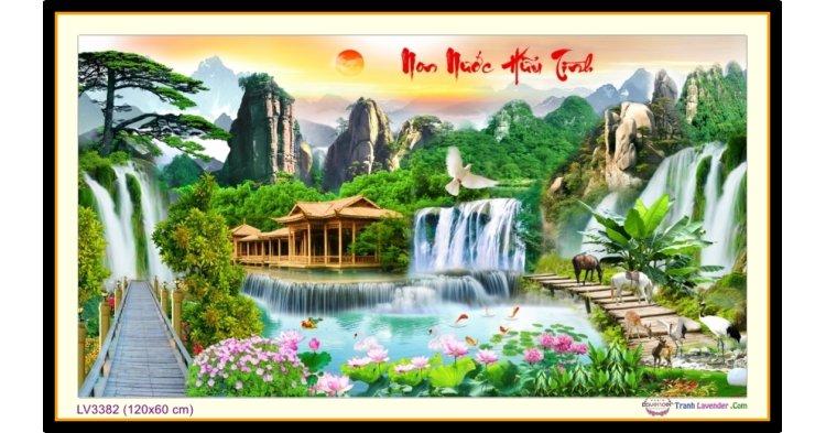 [T-LV3382] Tranh thêu chữ thập phong cảnh Lưu Thủy Sinh Tài khổ lớn (120x60 cm)