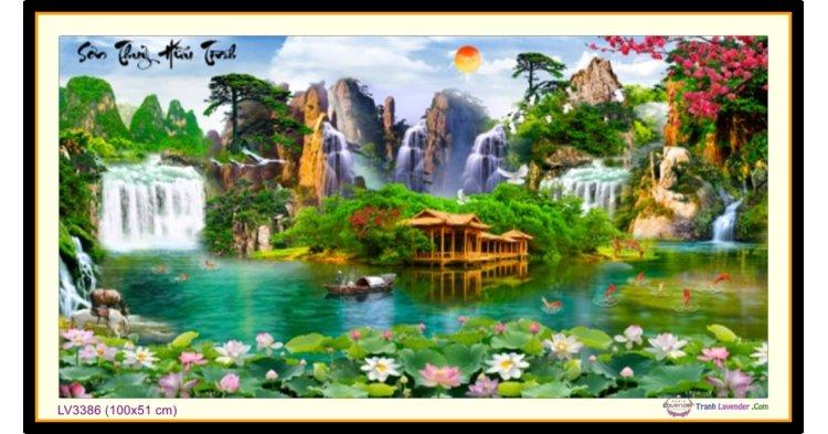 [T-LV3386] Tranh thêu chữ thập phong cảnh Sơn Thủy Hữu Tình khổ nhỏ (100x51 cm)