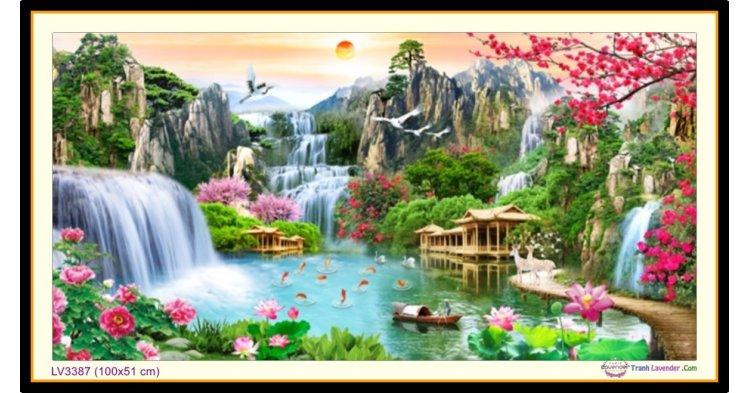 [T-LV3387] Tranh thêu chữ thập phong cảnh Lưu Thủy Sinh Tài khổ nhỏ (100x51 cm)