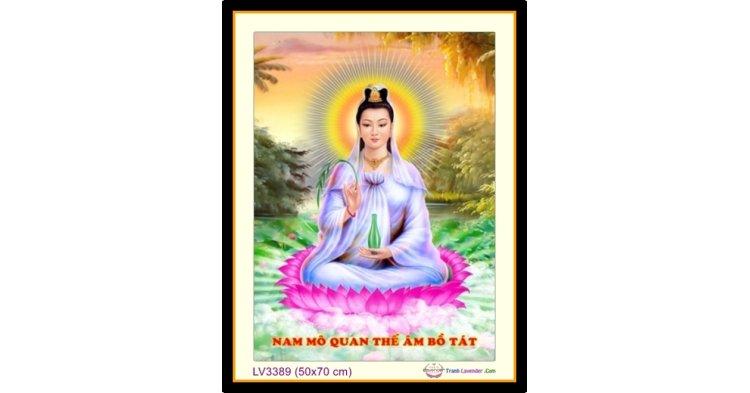 [T-LV3389] Tranh thêu chữ thập Phật Bà Quan Âm khổ nhỏ (50x70 cm)