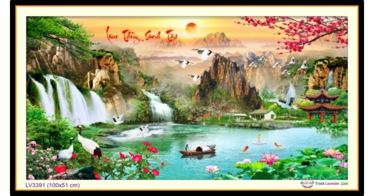 [T-LV3391] Tranh thêu chữ thập phong cảnh Lưu Thủy Sinh Tài khổ nhỏ (100x51 cm)