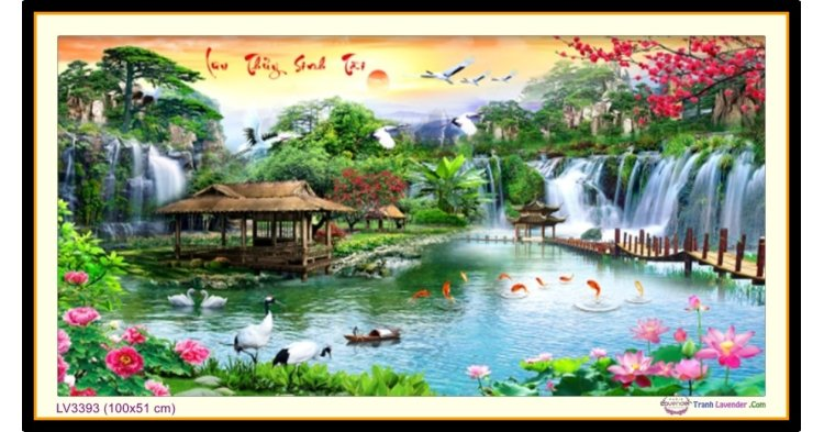 [T-LV3393] Tranh thêu chữ thập phong cảnh Lưu Thủy Sinh Tài khổ nhỏ (100x51 cm)