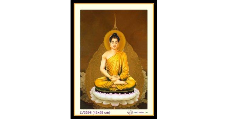 [T-LV3398] Tranh thêu chữ thập Đức Phật Thích Ca Mâu Ni khổ nhỏ (43x59 cm)