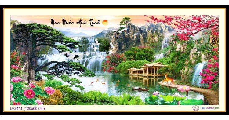[T-LV3411] Tranh thêu chữ thập phong cảnh Non Nước Hữu Tình khổ lớn (120x60 cm)