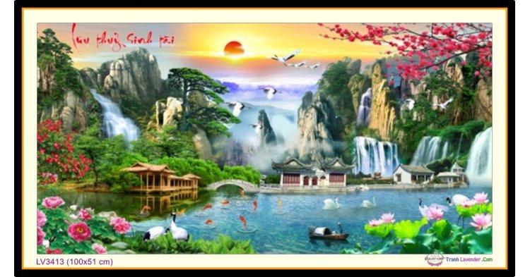 [T-LV3413] Tranh thêu chữ thập phong cảnh Lưu Thủy Sinh Tài khổ nhỏ (100x51 cm)