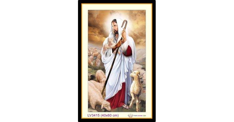 [T-LV3415] Tranh thêu chữ thập Chúa Giê-su (Jesus) Chăn Chiên (chăn cừu) - Chúa chăn Chiên Lành khổ nhỏ (40x60 cm)