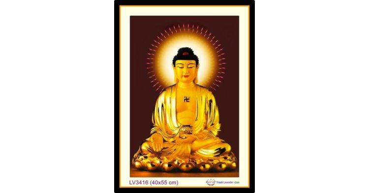 [T-LV3416] Tranh thêu chữ thập Đức Phật A Di Đà khổ nhỏ (40x55 cm)