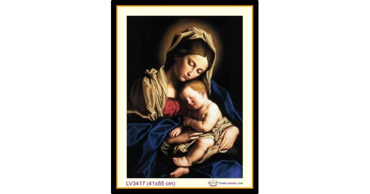 [T-LV3417] Tranh thêu chữ thập Đức Mẹ Bồng Con khổ nhỏ (41x55 cm)