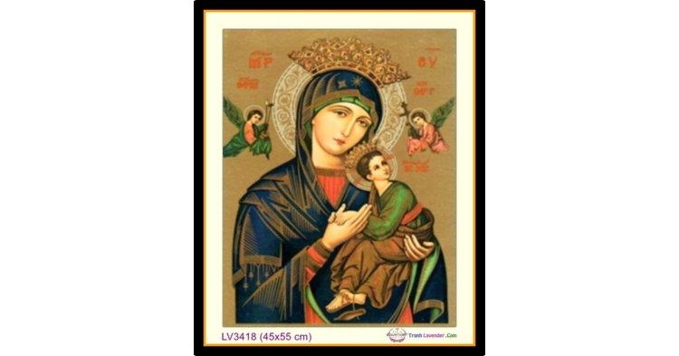 [T-LV3418] Tranh thêu chữ thập Đức Mẹ Hằng Cứu Giúp khổ nhỏ (45x55 cm)