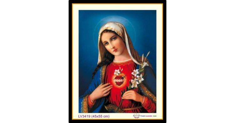 [T-LV3419] Tranh thêu chữ thập Trái Tim Đức Mẹ Maria khổ nhỏ (45x55 cm)