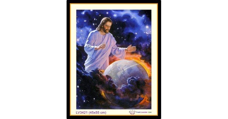 [T-LV3421] Tranh thêu chữ thập Thiên Chúa sáng tạo Trời Đất - Sáng Thế Ký khổ nhỏ (45x55 cm)