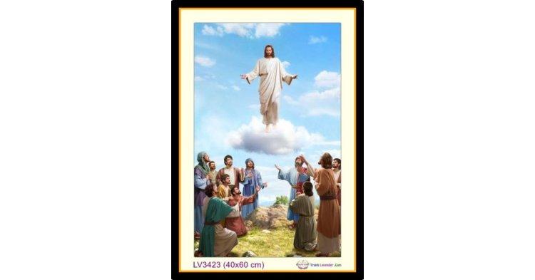 [T-LV3423] Tranh thêu chữ thập Chúa Giê-su (Jesus) phục sinh khổ nhỏ (40x60 cm)