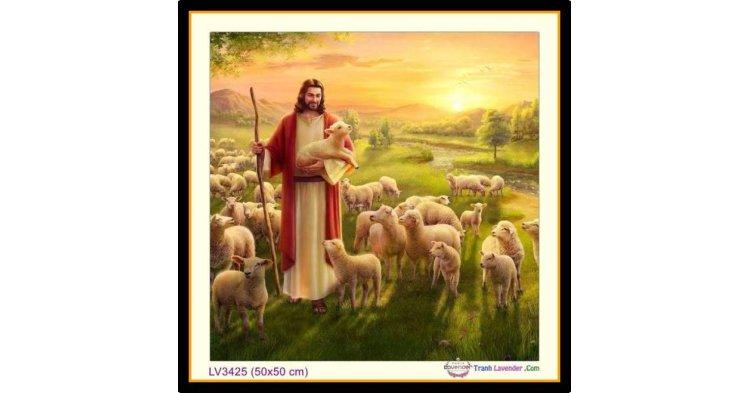 [T-LV3425] Tranh thêu chữ thập Chúa Giê-su (Jesus) Chăn Chiên - Chúa chăn Chiên Lành (chăn cừu) khổ nhỏ (50x50 cm)