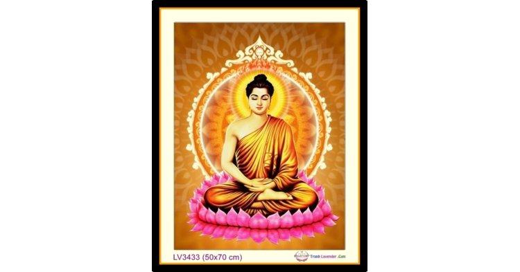 [T-LV3433] Tranh thêu chữ thập Đức Phật Tọa Đài Sen khổ nhỏ (50x70 cm)