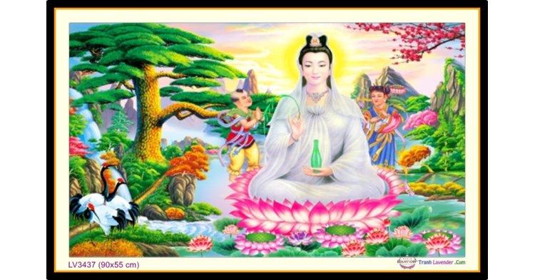 [T-LV3437] Tranh thêu chữ thập Phật Bà Quan Âm khổ nhỏ (90x55 cm)