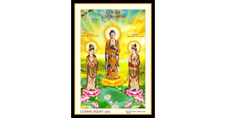 [T-LV3446] Tranh thêu chữ thập Tam Thế Phật khổ trung bình (62x91 cm)